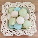 Blue and green pastel macaroons