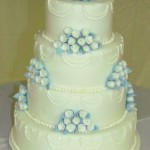 Blue and white fondant rose cake