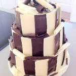 Dark choc cake with white and dark chocolate strips