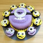 Minion cake with cupcakes
