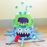 Monsters two tiered birthday cake