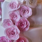 Pink and white fondant rose wedding cake with pearls