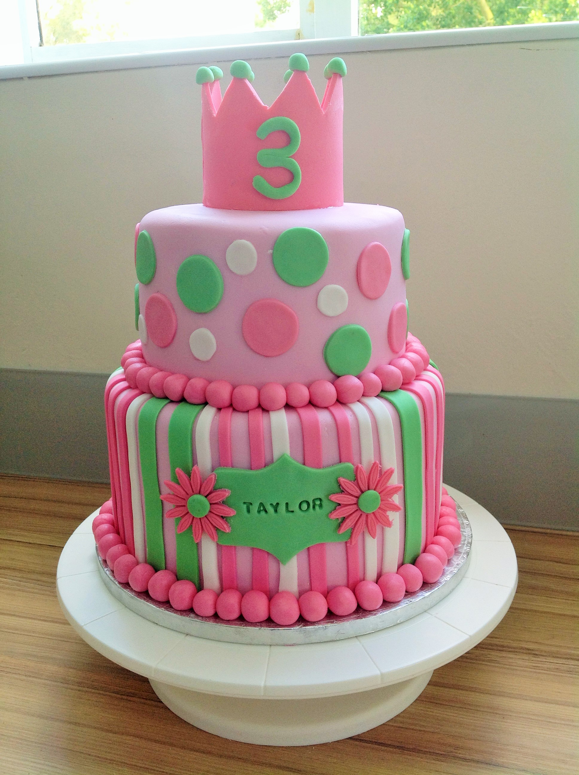 Princess Crown Cake With Stipes And Dots