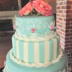 Vintage four tiered teal wedding cake