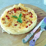 Bacon, caramelised onion and chees quiche