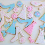 Ball gown, shoe and flower iced biscuits
