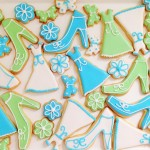 Blue and green royal icing decorated biscuits