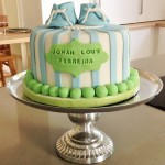 Booties Christening cake for a boy