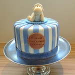 Boy Christening cake with sheep topper