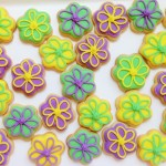 Bright happy flower iced biscuits