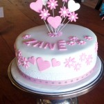 Flower and heart detailed Christening cake