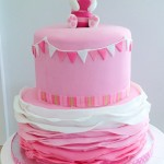 Two tiered ombre frills rabbit baby shower cake