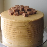 White chocolate mud cake with caramel icing