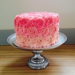 Pink buttercream ombre rose cake